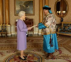 His Excellency Mr Narkhuu Tulga, the new Ambassador of Mongolia, presents his credentials during an Audience with The Queen at Buckingham Palace, 13 November 2013.