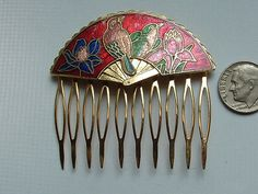 HAIR  comb 1980s cloisonne 2 BIRDS  gorgeous hard to by mls104