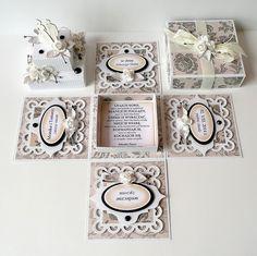 kartkulec: pudełko Wedding Cards Handmade, Greeting Cards Handmade, Diy Exploding Box, Box Cards Tutorial, Cricut Explore Projects, Pop Up Box Cards, Magic Box, Engagement Cards, Mini Scrapbook Albums