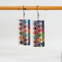 """Epoxy and wooden earrings / Серьги ручной работы. Серьги """"Цветные карандаши"""". Украшения из дерева Ра-курс. Ярмарка Мастеров. Смола украшения, радуга, шеллак"""