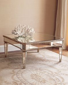 Mesmerizing Mirrored Coffee Table with Glass and Wood bined