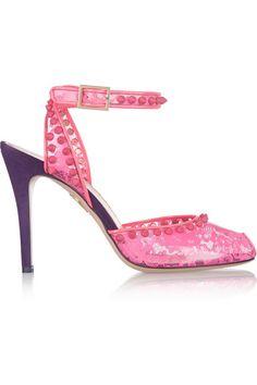 Charlotte Olympia Soho lace-print PVC and suede pumps - ShopStyle Heels Purple Heels, Purple Suede, Pink Pumps, Pink Shoes, Dsw Shoes, Shoes Heels, Flats, Rossi Shoes, Miu Miu Shoes