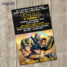 Star Wars Rebels Birthday InvitationStar By EmyJeans Party