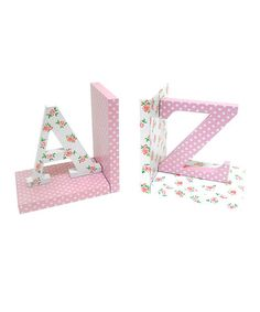 Take a look at this Pink & White Letter Bookend Set by Concepts on #zulily today!