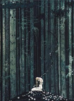 Vintage Illustration 'At Rest in the Dark Wood' - Kay Nielsen's - Scandinavian Fairy Tale Illustrations, 1914 - Haunting whimsy from the Golden Age of illustration. Illustrators, Art Photography, Painting, Fairytale Illustration, Illustration Art, East Of The Sun, Art, Beautiful Art, Vintage Illustration
