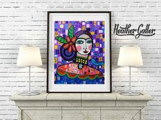 HUGE SALE- Mexican Folk Art Print Poster of Heather Galler Painting Colorful Patterns