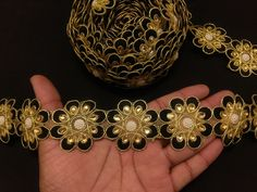 Indian Beaded Gold And Black Floral Embroidered Ribbon Lace Trim for Decoration of Clothing Accessories, Sewing and Crafting by KingsOfArt on Etsy Lace Border, Party Wear Dresses, Gold Material, Festival Wear, Wedding Wear, Clothing Accessories, Lace Trim, Jewelry Design, Ribbon