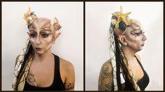 Criatura marina. Maquillaje realizado con panstick y sombras. Aplicación de calva de glatzan, prótesis de orejas de gelatina y atrezzo