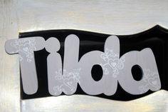 Türschild Holz Tilda Namensschild Schreibschrift von Inas Nordlichter auf DaWanda.com