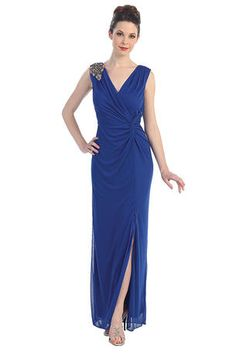 This+V-neck+dress+features+wide+straps+embellished+with+jewel+beads+on+one+side.+The+ruching+on+the++-+1327