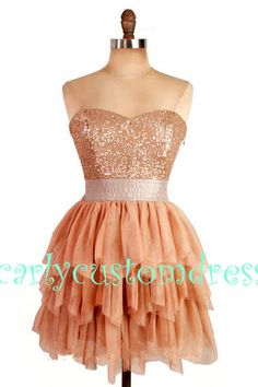 Short Gold Sequins Prom Dress/Short Homecoming by CarlyCustomDress, $79.99
