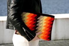 Bright Crochet Zigzag Womens Clutch Handmade Clutch