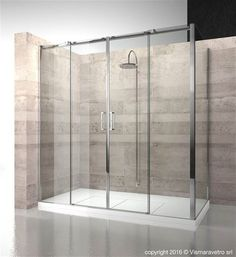Shower enclosure in corner with fixed panel and opening side with two central sliding doors. | D4+DG | @vismaravetro