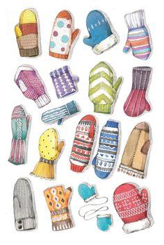 Просмотреть иллюстрацию Варежки из сообщества русскоязычных художников автора Мария Леман в стилях: Другое, Детский, нарисованная техниками: Акварель.