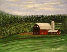 Red Farmhouse  - Original Acrylic Painting on 8x10 canvas panel by Katie Phillips, $52.00 #barn #farm #painting