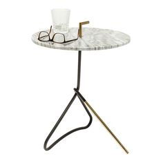 Doblado Side Table, White/Black | achica