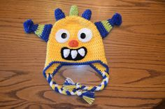 Monster Crochet Hat Child size small (6-8)   For this hat I used Vanna's Choice Yarns in the following colors:  Yellow (Duckie)  Lime  Colon...
