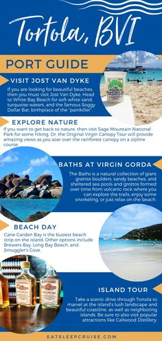 See our complete list of the most popular Things to Do in Tortola on a Cruise from the beach, to an island tour, to a ferry ride to neighboring BVIs. Cruise Excursions, Cruise Destinations, Cruise Port, Cruise Travel, Cruise Vacation, Disney Cruise, Cruise Tips, Bermuda Vacations, Bahamas Vacation