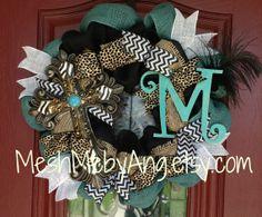 Custom burap wreath with cross and inital by MeshMebyAng on Etsy, $75.00