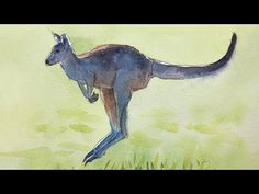 (88) Relaxing Painting - How to Paint a Kangaroo with Watercolor - YouTube Learn Art, Watercolor Animals, Colorful Drawings, More Fun, Kangaroo, Moose Art, Youtube, Painting, Baby Bjorn