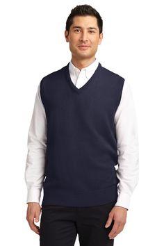 Port Authority Value V-Neck Sweater Vest. SW301 Navy