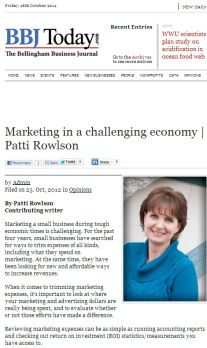 Marketing in a challenging economy - by Patti Rowlson #marketing