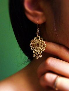 Romantic Gold Lace Earrings with Crystals . CocoroJewelry on Etsy