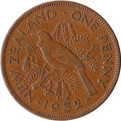 New Zealand Penny, 1952 for sale online Nz History, My Family History, Tui Bird, Nz Art, Penny Coin, Kiwiana, Old Coins, Reptiles And Amphibians, New Zealand