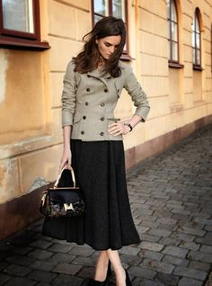 Feminine business ensemble - Hip-length double-breasted jacket with mid-calf flowing skirt.  Great colors.