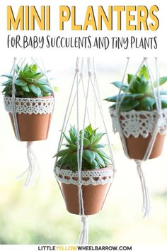 These mini succulent pots are a cute way to display your tiny plants.  This DIY craft project is quick and easy and creates the most adorable hanging planter ever.  They also make adorable Christmas tree ornaments!   Perfect for the gardener, or someone who just loves succulents. Have fun showing off your succulents all around the house with these adorable mini planters.  #crafts #succulents #diy #ornaments #easy #ideas