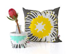 iSpy's aquas and yellows make for a popular colour combination Color Combinations, Screen Printing, African, Throw Pillows, Colour, Popular, Prints, How To Make, Design