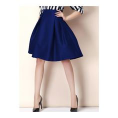 SheIn(sheinside) Zipper Flare Blue Skirt ($15) ❤ liked on Polyvore featuring skirts, blue, flared hem skirt, stretch skirt, knee length skirts, blue skirt and zip skirt