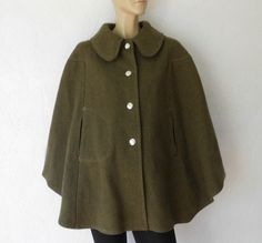 Vintage 60's Wool Cape Poncho Peter Pan Collar by luvofvintage, $58.00