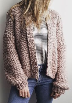 Knitting Pattern for Bomber Cardi - Bomber style cardigan jacket in size small to medium size or large to XL.The designer Wool Couture says this is an easy pattern suitable for novice knitters.