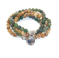 Moss Agate Mala, Jasper Mala, Mala Beads, 108 Mala, Jasper Tree of Life Bracelet, Yoga Bracelets, Healing Stone, Mala Necklace, Nature Jewel de Mainashiki en Etsy