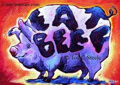 Pig Painting - Pig Art Print-Old Bobs Tatt Saves His Bacon -from original painting by Tod C Steele via Etsy