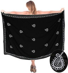 """La Leela Silky Gentle RAYON Women Black Embroidery Beach Swim Pareo 72X42 Inches. Do YOU want SARONG in other colors Like Red ; Pink ; Orange ; Violet ; Purple ; Yellow ; Green ; Turquoise ; Blue ; Teal ; Black ; Grey ; White ; Maroon ; Brown ; Mustard ; Navy ,Please click on BRAND NAME LA LEELA above TITLE OR Search for �LA LEELA� in Search Bar of Amazon. Wrap Around LENGTH 72"""" [182 cms] WIDTH 42"""" [106 cms]. Soft Sarong with PLENTY OF Wrap Around MATERIAL (Provides you good coverage or less…"""