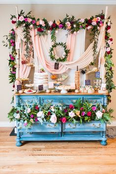 Garden style dessert table. Perfect for a bridal shower or afternoon outdoor wedding.