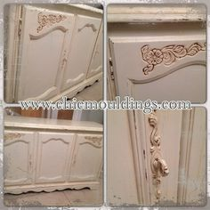 Cream sideboard with distressing & wax details. www.chicmouldings.com