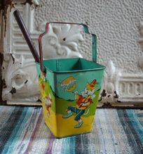 1950s Chein Square Nursery Rhyme Sand Pail Shovel