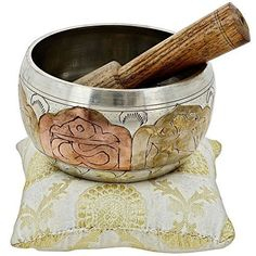 Tibetan Singing Bowl Meditation Copper and Silver Buddhist Dcor 4 Inch -- Want additional info? Click on the image. (Note:Amazon affiliate link)
