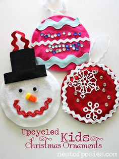 Fun Ideas on Making Upcycled Kids Christmas Ornaments via Nest of Posies