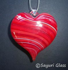 Red Stripe Heart Ornament 1  DISASTER RELIEF by SayuriGlass, $35.00