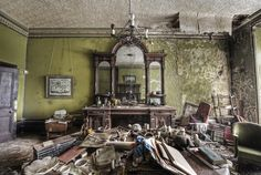 This house has been abandoned for decades and is filled with treasures, from WW2 ID cards to magazines dating back to the queens coronation. Its like the occupant just left. Even the clock worked and the time was right