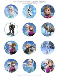 Frozen Party Free Printables - Invitations, Stickers, Cupcake Toppers, Elsa Crown and lots more. Disney Frozen Party, Frozen Themed Birthday Party, Elsa Birthday, Cake Birthday, Frozen Cupcake Toppers, Anna Und Elsa, Frozen Free, Olaf Party, Frozen Invitations