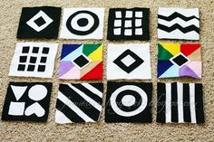 I made these Playtime Felt Squares for Baby - I've read that babies love black and white, bright colors and bright contrasts