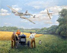Planes over Manor Farm  -----painting from the Beeb's 'Wartime Farm'