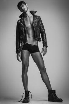 Felipe wears leather jacket Diesel, underwear Calvin Klein and boots Democrata.