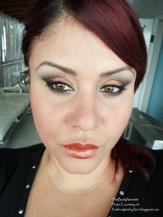 Fool's Gold and Sparkles Copper eye shadow. Vici blush and Copper Lust lippie, by SoRy!