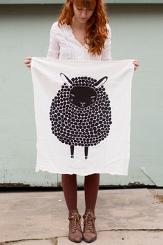 Black Sheep Tea Towel, Printed with Eco Friendly Inks